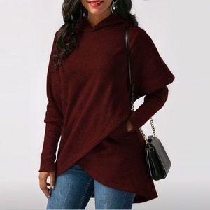 Jackets & Blazers - New Ladies Hooded Sweatshirt Red 2XL Plus